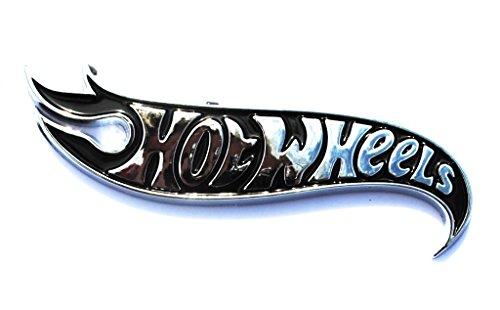 Hot Wheels Black Chrome Logo Side Fender Lid Hood Badge Decal ()