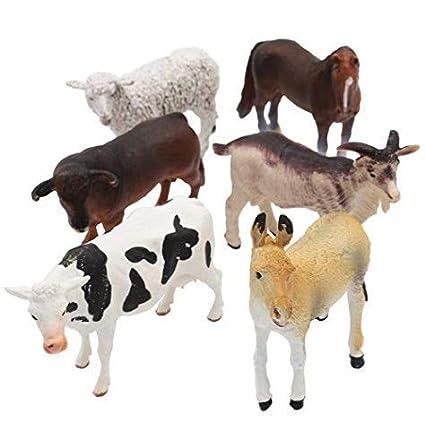 Amazon com: Farm Animals Figure Toys Set,6 Piece Jumbo Farm