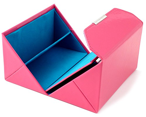 Calabria Quad Eyeglass Case, Folds Out with Mirror and Four Compartments for Eyewear, Cellphone, Makeup, or More! (Pink with Teal Liner) by Calabria