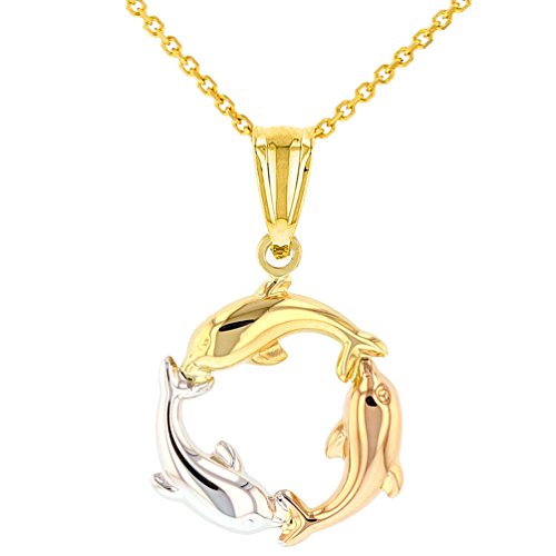 Polished 14K Tri-Color Gold Kissing Dolphin Circle Pendant Necklace, 18