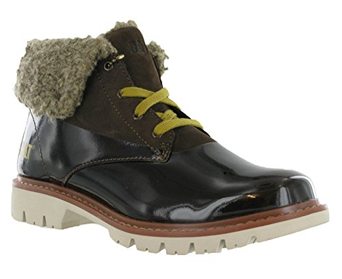 Lace Hub Boots CAT Up Shoes Womens Ankle Fur Chocolate Leather Caterpillar xq8O4nwXE7