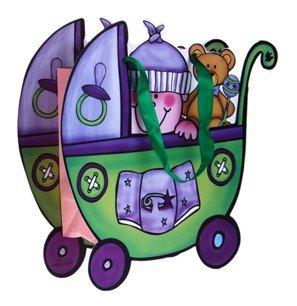 DISOK - Bolsa De Regalo & Presentacion Cochecito Verde - Bolsas para Bebés, Recién Nacidos, Regalos Infantiles, Bautizos, Baby Shower, Fiestas Infantiles, Originales y Baratas para Regalos