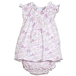 Feather Baby Girls Clothes Pima Cotton Two Piece Short Sleeve Henley Dress and Bloomer Set