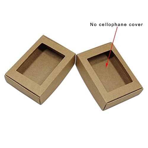 50 Pcs 3.3x2.3x0.9 inch Visible Kraft Paper Gift Wrapping Boxes Merchandise Take Out Container Jewelry Necklaces Gift Favor Cardboard Box Candy Chocolate Food Storage Cake Craft Pack (Square Window) ()