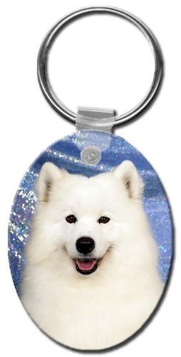 (Canine Designs Samoyed Oval Key Chain)