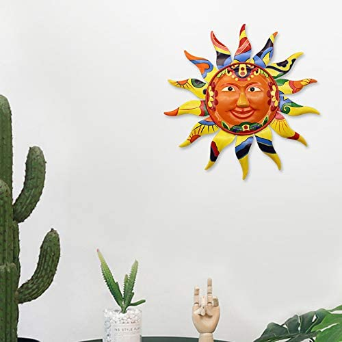 Juegoal 12.7 Inch Metal Sun Wall Art Decor Hanging for Indoor Outdoor Home Garden