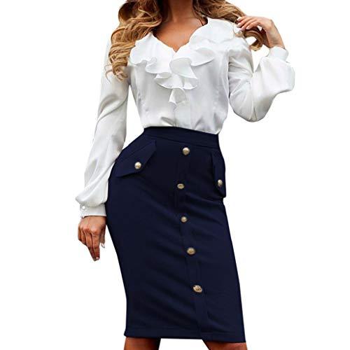 Women High Waist Skirt Sexy Bodycon Solid Color Office Knee-Length Midi Pencil Button Pocket Skirt (M, Dark Blue)