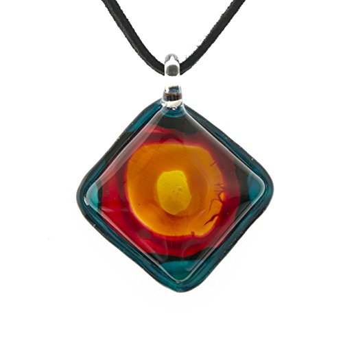 Venetian Glass Square Pendant (Hand Blown Venetian Murano Glass Blue Red Abstract Sun Square Pendant Women Necklace, 18-20