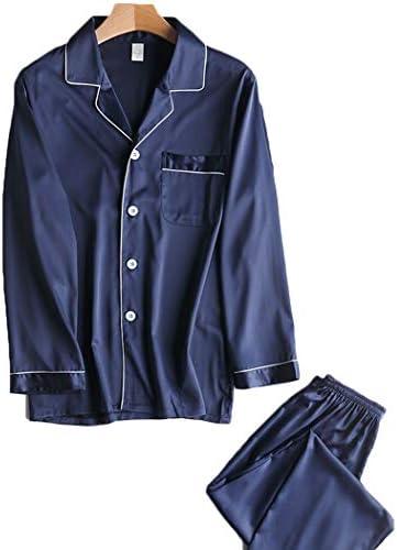 メンズパジャマセットの薄いセクション100%シルクPJボトムスセットカジュアルロングスリーブ部屋着 (Color : C, Size : L)