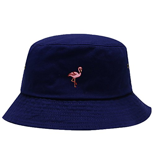 City Hunter Flamingo Embroidered Cotton Bucket Hats - Multi Colors (Embroidered Flamingo)