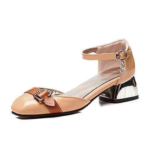Mujer Verano Del Tobillo Para Medio Tacón Zapatos Pie Negro Fiesta Beige Correa Zapatillas Fornido Bloquear 35 Sandalias 45 Talones Cerrado Vestir Tamaño Grande Dedo fwXxqPnqa