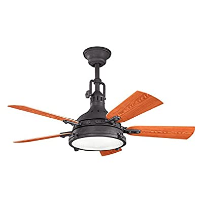 Kichler Lighting 310101DBK Hatteras Bay 44-Inch Damp Rated Ceiling Fan, Distressed Black Finish with Fresnel Glass Light Kit and Reversible ABS Blades