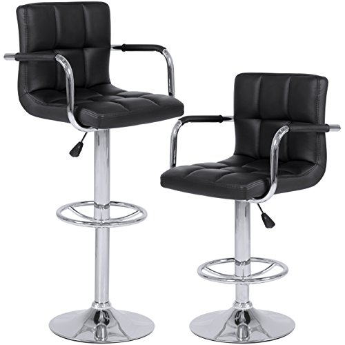 Best Choice Products Set of 2 Swivel Hydraulic Height Adjustable Leather Pub Bar Stools Chair - Black (Pair Of Bar Stools)