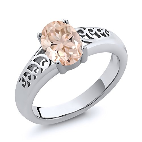 0.65 Ct Oval Peach Morganite 925 Sterling Silver Women's Ring (Available in size 5, 6, 7, 8, 9)