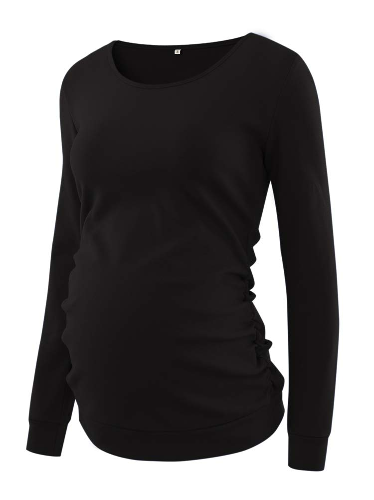 Love2Mi Womens Maternity Tunic Tops Long Sleeve Sweater Classic Side Ruched T-Shirt Pregnancy Clothes