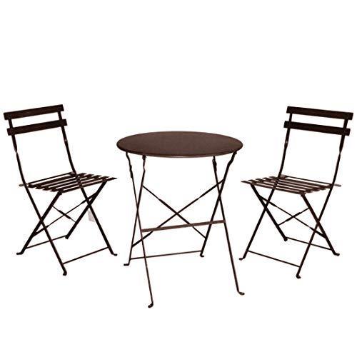 Juego de Muebles de balcón Plegables de Acero para Exteriores, 3 Piezas, Mesa y sillas Plegables (Color Gris)
