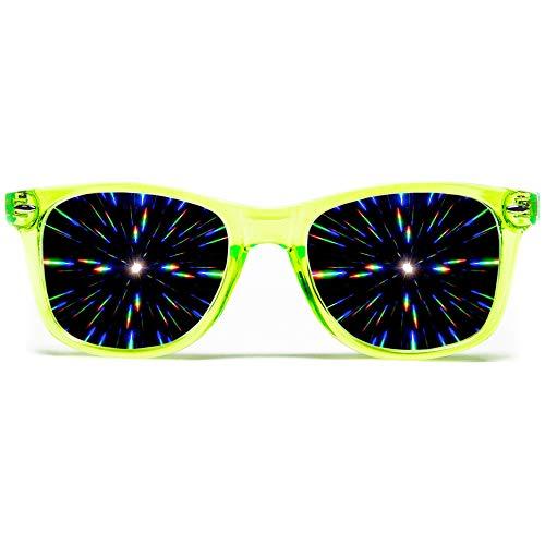 GloFX Diffraction Glasses - Transparent Green - 3D Prism Firework ()