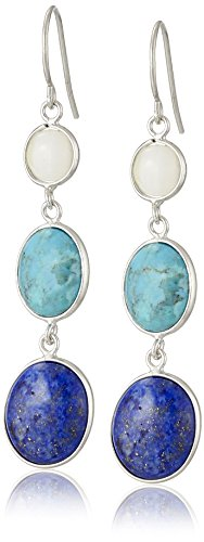 Turquoise Lapis Inlay - Sterling Silver Synthetic Compressed Turquoise, Lapis and Mother-of-Pearl Inlay Drop Earrings