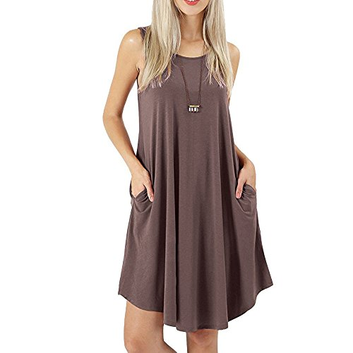 aihihe Sleeveless Dress for Womens with Pockets Summer Casual Crew Neck Swing Flowy T-Shirt Sundresses(Khaki,XL) -
