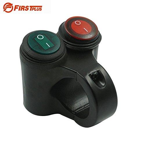 Daphot Store - Aluminum Motorcycle Handlebar Double Control Button Switch Headlight Hazard Brake Fog Light ON OFF Switches With Indicator Light (Model E)