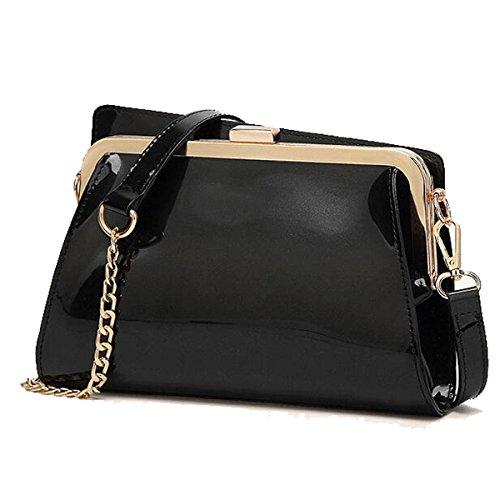 chaîne Messenger Noir sacs verni cuir en bandoulière mode brillant bag main à main Sacs à de petit sac WTnqwxZPc8