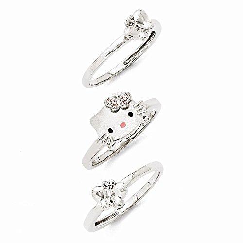 Sterling Silver Hello Kitty Swarovski Crystal 3 Piece Butterfly Ring Set