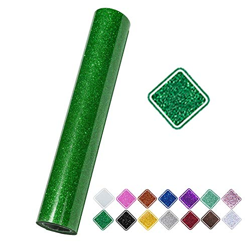 VINYL FROG 9.8x60 Inches Green Iron on Glitter Heat Transfer Vinyl Roll for T-Shirt, Garments Bags and Other Fabrics