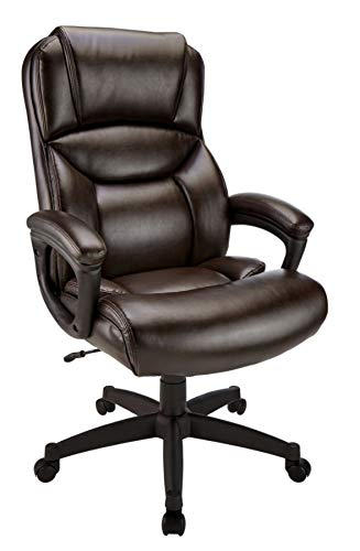Realspace Fennington Bonded Leather High-Back Chair, Brown/Black