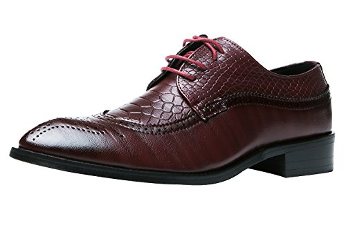 Oxford Shoes Men Brogue Pointed Toe Wingtip Lace Up Leather Dress Shoes Santimon Red UK 8
