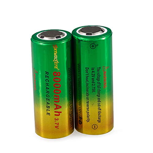 Tharv❤2pcs 3.7V 26650 8800mAh Li-ion Rechargeable Battery for LED Flashlight Torch Green 8800 Mah Lithium Ion Battery