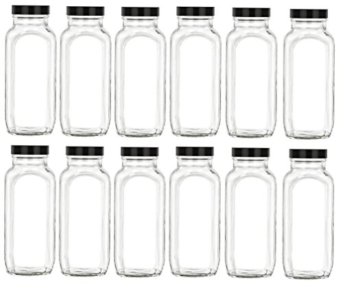 Nakpunar 16 oz Glass French Square Bottle Set w/Black Plastic Lid - Wide mouth with BPA Free, Airtight, Leak Proof Lids for Fruit Juices, Kombucha, Dressings (Black, 12)