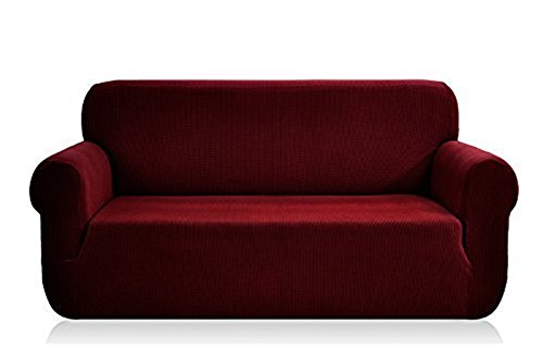 Golden Linen Sofa Covers 3-Piece Polyester Spandex Fabric Slipcover 3 pieces Set Sofa+ Love Seat+ Arm Chair (WINE)