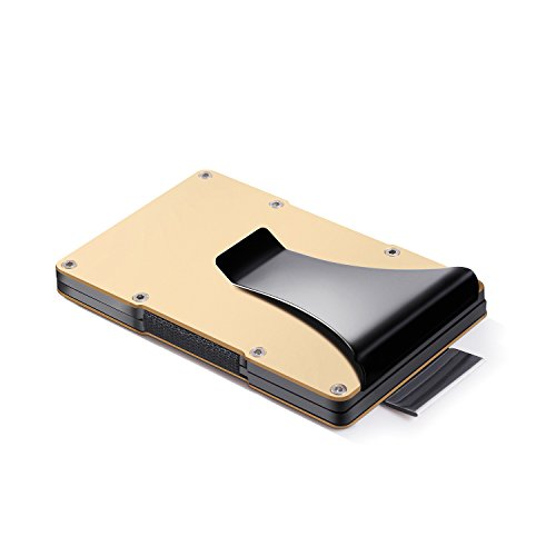 Wigerlon Minimalist Aluminum Metal Wallet And Slim Carbon Fiber Wallets- RFID Blocking Card Holder With Money Clip Gold
