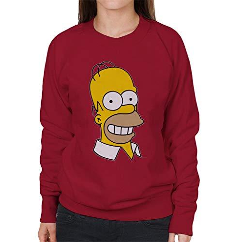 The Simpsons Smiling Homer Women's Sweatshirt Cherry Red (Marge Simpson Sweatshirt)