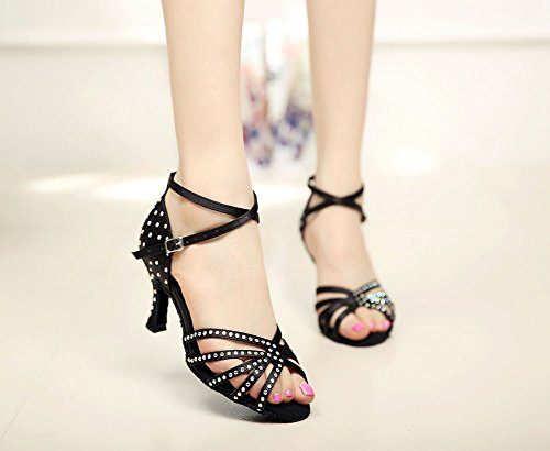 Womens Danse Shoes WYMNAME Dancing Noir Latine Heels Chaussures Sandale Diamant de Ballroom High dtgCg
