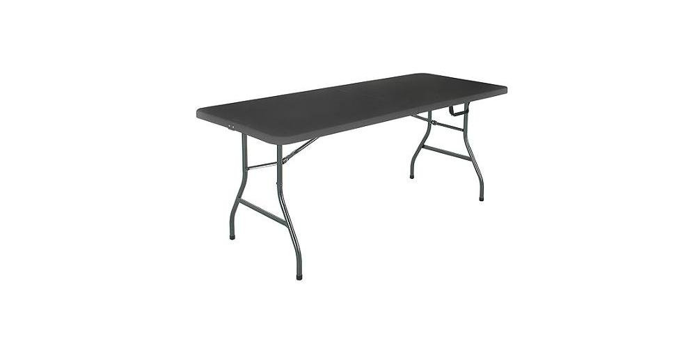 Mainstays 6' Centerfold Folding Table, White or Black (Black)