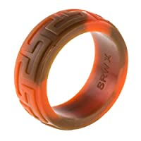 9mm Premium Heavy Duty Silicone Wedding Band - Thicker and Stronger for our Toughest Customers- Safe, Flexible silicone ring for Athletes and Professional Grade Workers- EarthStone w/Aztec engraving