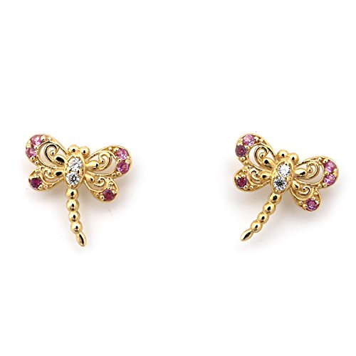14k Yellow Gold Pink CZ Cubic Zirconia Dragonfly Screwback Earrings - Dragonfly Yellow Earrings