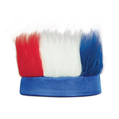 Beistle 60277-RWB Hairy Headband - Red White And Blue Wig