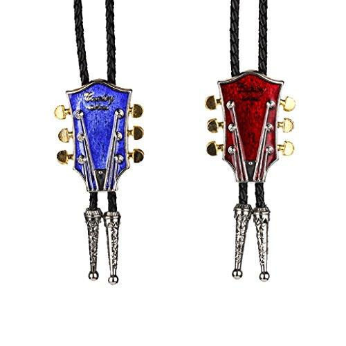 MagiDeal 2X Bolo Tie Bola Collar Patrón Cabeza y Clavijeros de Guitarra