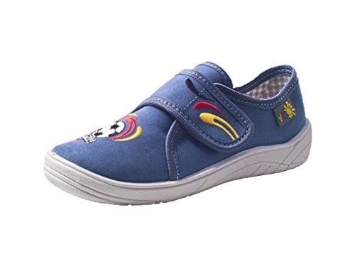 Yaro - Zapatillas de estar por casa de algodón para niño Azul - blau/weiss/Fussball