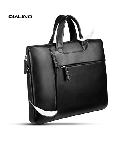 (QIALINO Genuine Leather MacBook Pro 13 inch Case, Water-Proof Laptop Briefcase/Shoulder Bag for 13.3