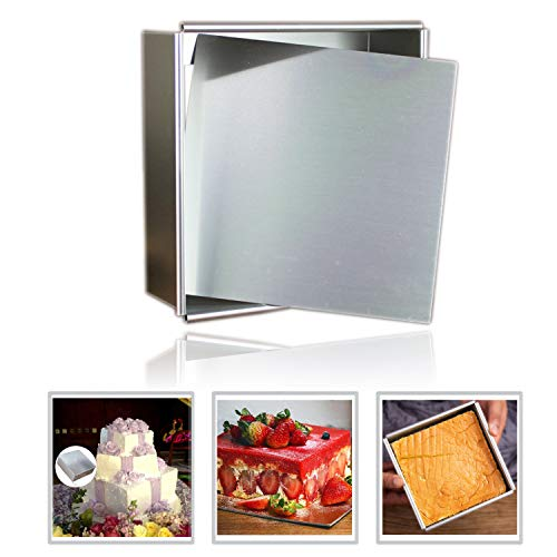 Anodized Aluminum Square Cheesecake Pan Chiffon Cake Mold Baking Mould with Removable Bottom 6 Inch x 6 inch x 3 inch