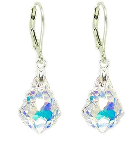 Sterling Silver Leverback Dangle Earrings Clear Aurora Borealis Swarovski Elements Crystal Earrings #SSE1 by Forever Love