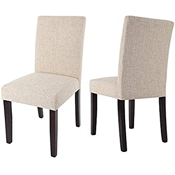 Merax Classic Fabric Dining Chairs with Solid Wood Legs Set of 2 Beige