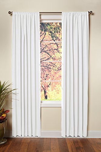 Cotton Craft - Set of 2-100% Cotton Duck Reverse Tab Top Curtain Panel Set - 50x96 - White - Classic Elegance for a Clean Crisp Look - Each Panel is 50 in Wide ()