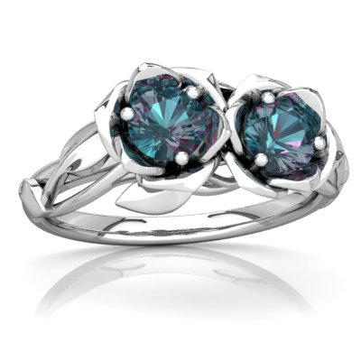 14K White Gold Lab Alexandrite Round Rose Garden Ring - Size 8
