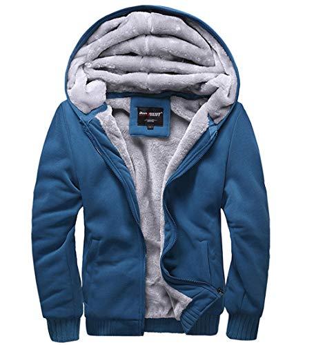 S&S-Men Fashion Casual Faux Fur Long Sleeve Hoodies Outwear Sweatshirt