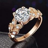 خاتم مرصع بالزركون الشفاف ومطلي بالذهب الوردي للنساء