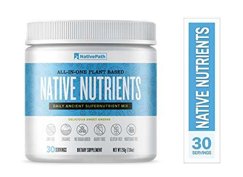 NativePath Native Nutrients Powder, All-In-One Plant Based Supernutrient Mix, Thyroid Boost, Fat-Burning Detox Drink, Rich with 14 Nourishing Foods, Organic Metabolism Booster (30 servings per bottle)